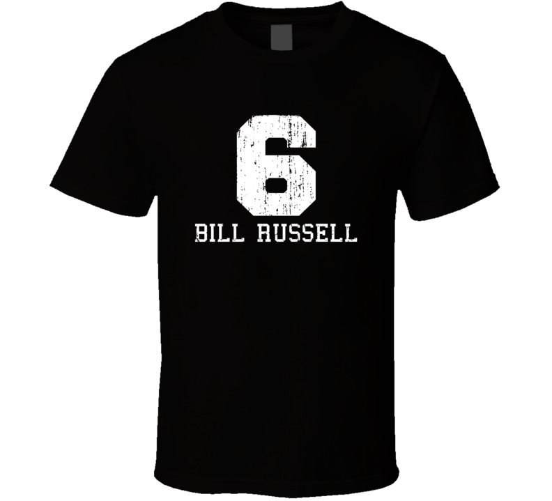 Bill Russell #6 Boston Basketball Fan Worn Look Sports T Shirt