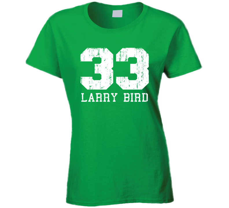 Larry Bird #33 Boston Basketball Fan Worn Look Sports Ladies T Shirt