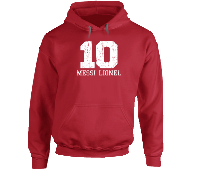 Messi Lionel #10 Barcelona Football Fan Worn Look Sports Hoodie