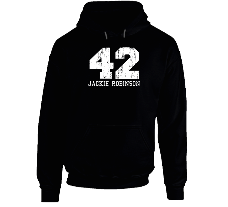 Jackie Robinson #42 Brooklyn Baseball Fan Worn Look Sports Hoodie