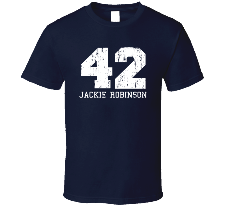 Jackie Robinson #42 Brooklyn Baseball Fan Worn Look Sports T Shirt