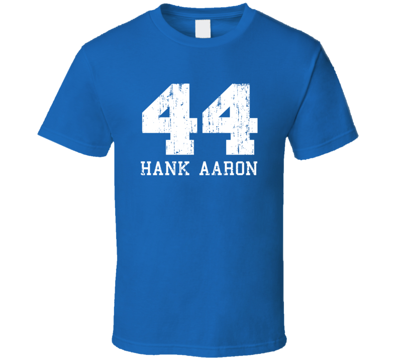 Hank Aaron #44 Milwaukee Baseball Fan Worn Look Sports T Shirt