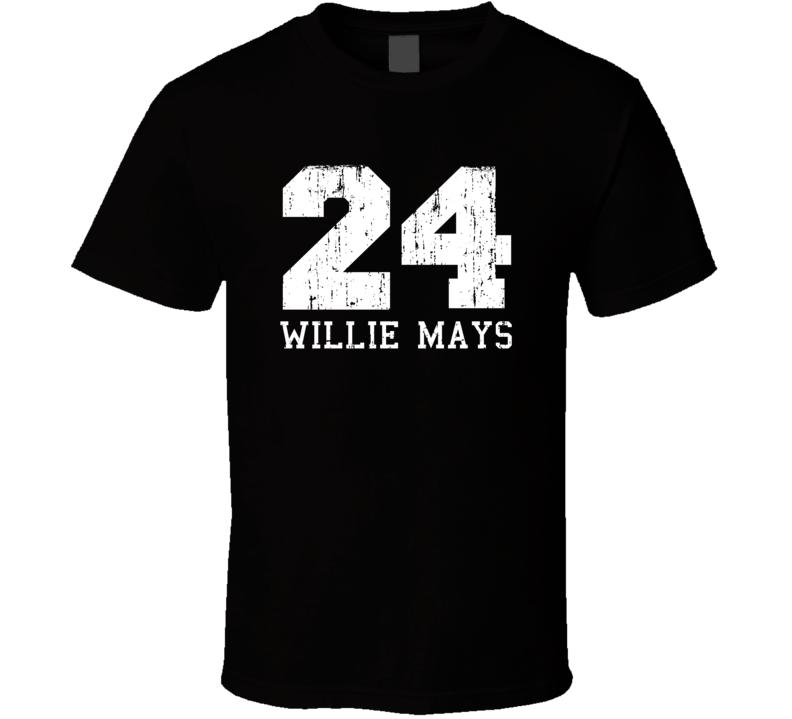 Willie Mays #24 San Francisco Baseball Fan Worn Look Sports T Shirt