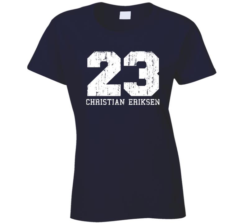 Christian Eriksen #23 Tottenham Football Fan Worn Look Ladies T Shirt