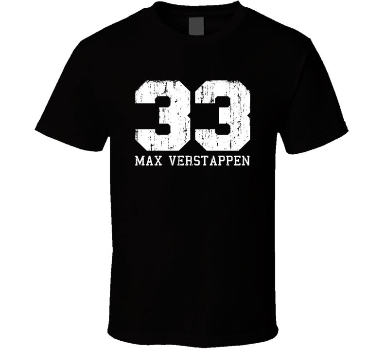 Max Verstappen #33 Formula 1 Driver Fan Worn Look Cool Sports T Shirt