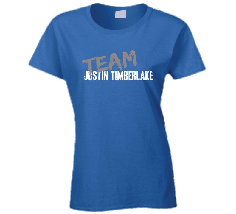 Team Justin Timberlake Top Pop Music Artist Worn Look Ladies T Shirt
