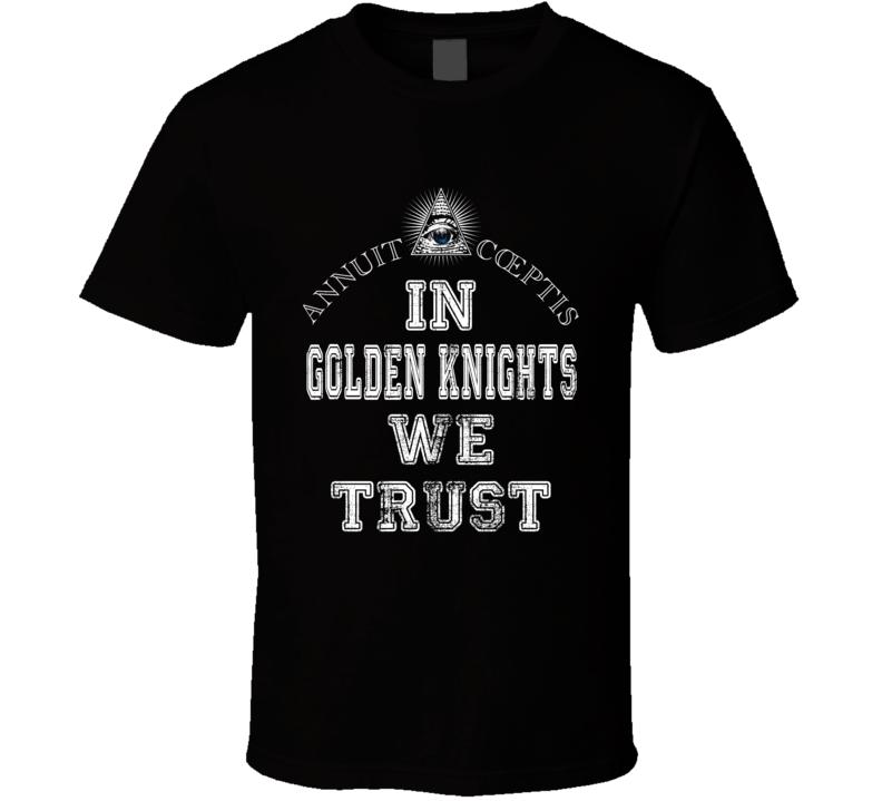 In Golden Knights We Trust Vegas Hockey Fan Sports Worn Look T Shirt