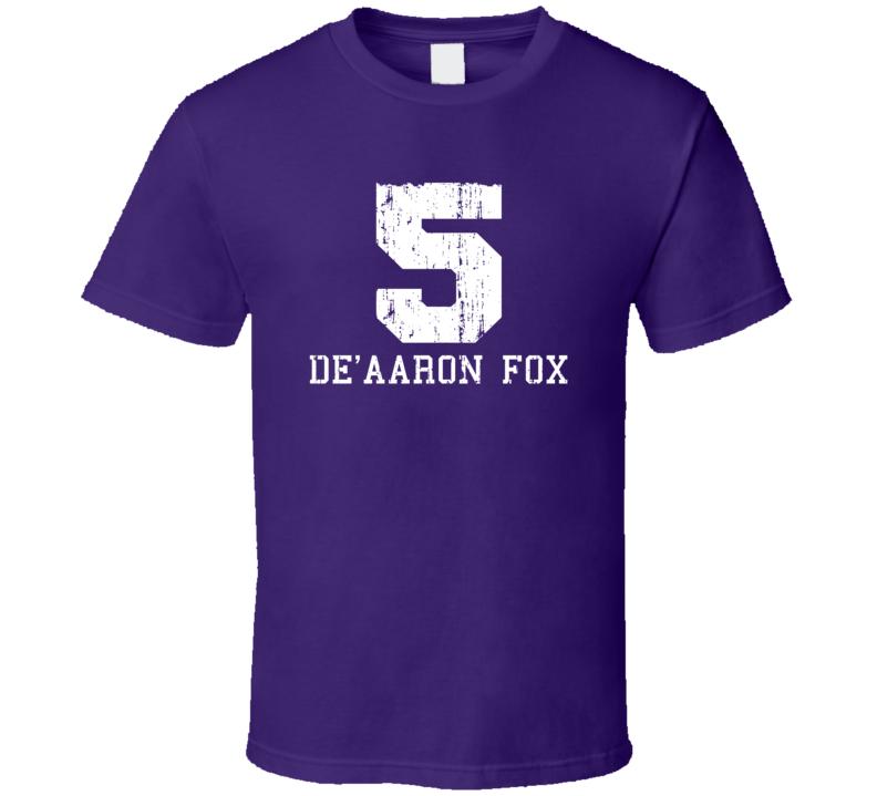 De'Aaron Fox No.5 Sacramento Basketball Fan Worn Look Sports T Shirt