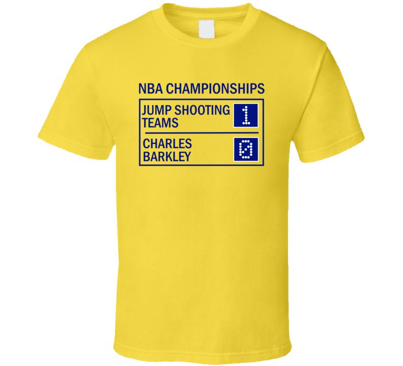 Charles barkley vs jump shooting teams funny basketball t for Old school basketball t shirts
