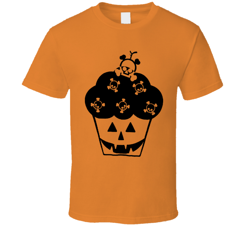 Halloween Scary Funny Skull Cupcake T Shirt