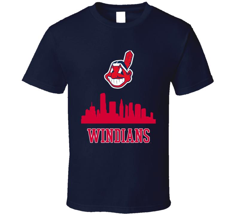 Cleveland Indians Skyline Baseball Tribe Sports Windians T Shirt