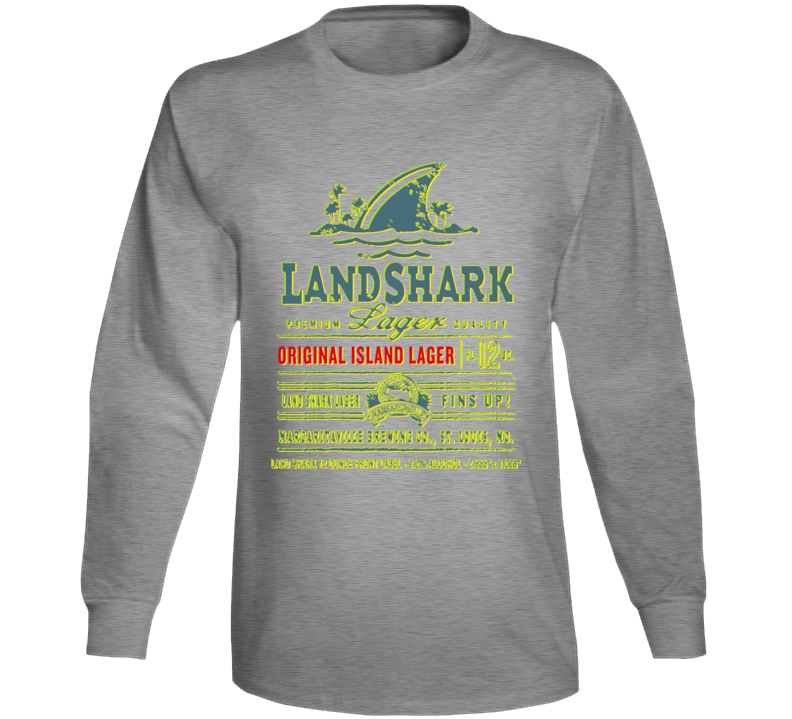 Jimmy Buffet Beer Landshark Fins Up Long Sleeve T Shirt