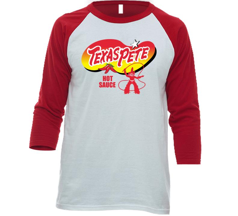 Texas Pete Hot Sauce Spicy Pepper Food Fan Baseball Raglan T Shirt
