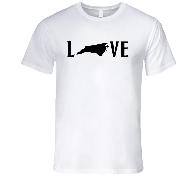 Love North Carolina US State American Silhouette Graphic T Shirt