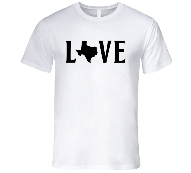 Love Texas US State American Silhouette Graphic T Shirt
