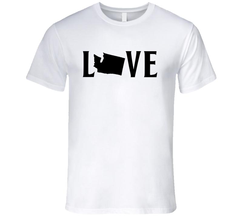 Love Washington US State American Silhouette Graphic T Shirt
