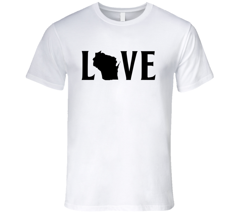 Love Wisconsin US State American Silhouette Graphic T Shirt