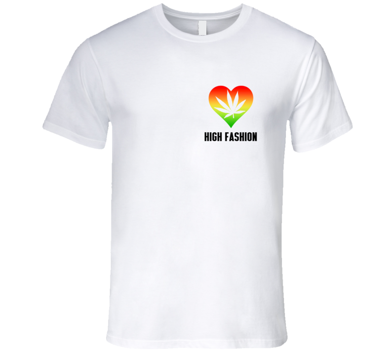 High Fashion Love Cannabis Heart Pot Leaf Popular Rainbow T Shirt