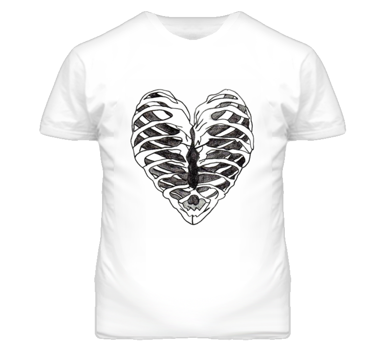 Rib Cage Heart Graphic T Shirt