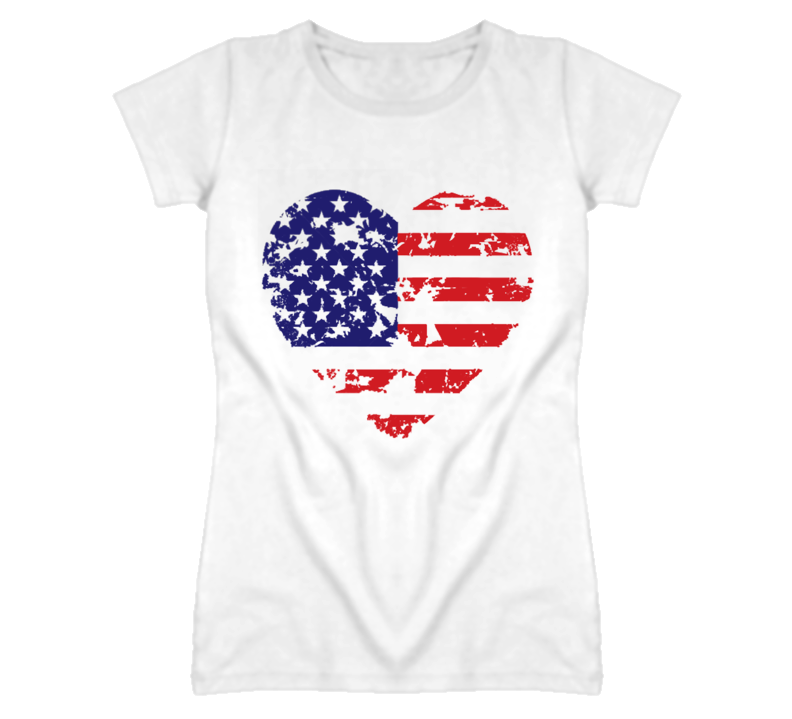 American Flag Heart Memorial Day Distressed Look Vintage Style T Shirt