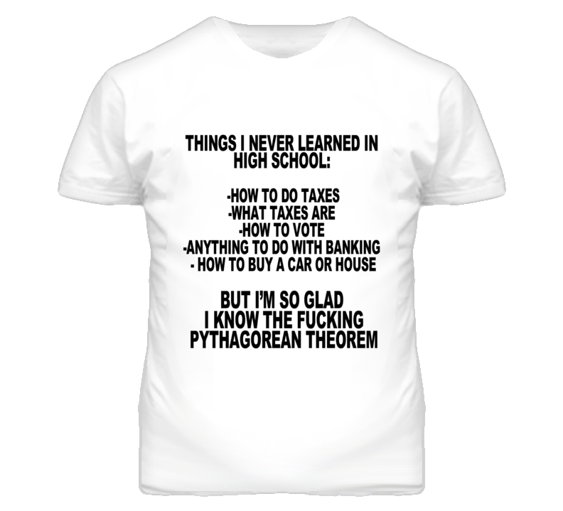 Thing I Never Learned In High School Funny Graphic T Shirt