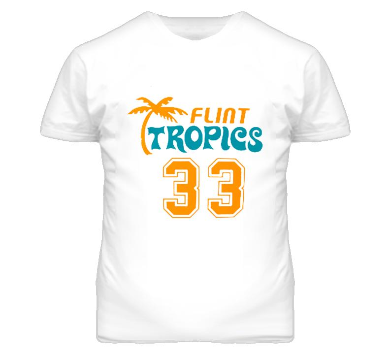 Flint Michigan Tropics 33 Basketball Jackie Moon Movie Graphic T Shirt