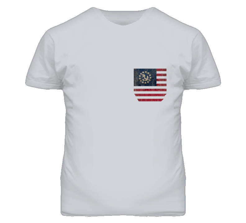 Vintage American Flag With Anchor And Stars Printed No Pocket Graphic T Shirt