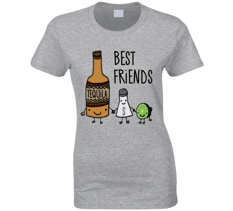 Best Friends Tequila Salt And Lime Fun Drinking Party Graphic Tee Shirt