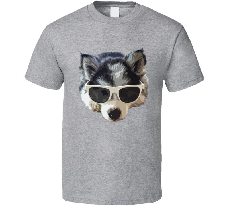 Husky Puppy Myla Love Wearing Sunglasses Fun Cute Alaskan Malamute Dog T Shirt