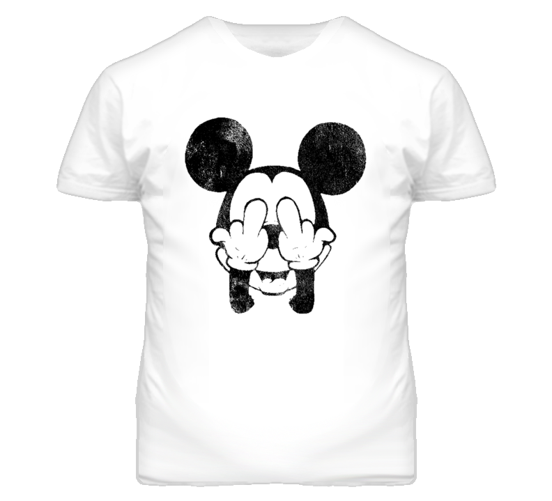 Vintage Mickey Mouse Middle Finger Distressed Graphic T Shirt