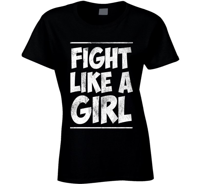 Fight Like A Girl Fun Vintage Style Ladies Kickboxing Boxing Graphic Distressed Tee Shirt
