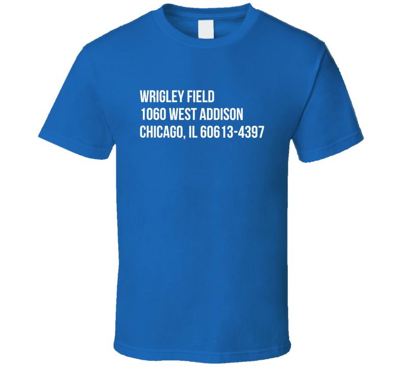 Wrigley Field Ball Park Address Chicago Cubs Fan Graphic Baseball TShirt