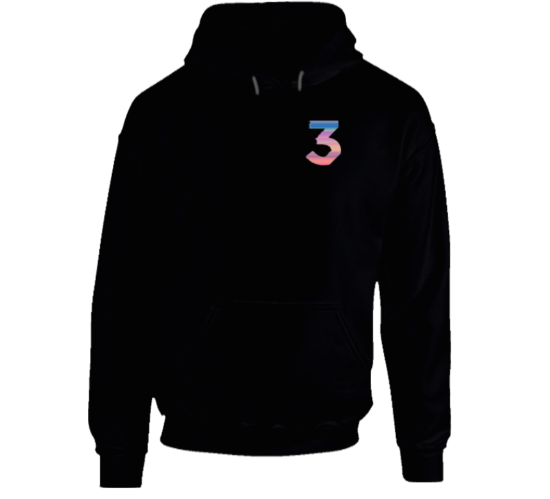 Number 3 Colorful Cool Chance Rap Hip Hop Urban Graphic Hoodie Shirt Pullover