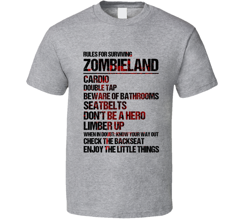 Rules For Surviving Zombieland Cardio Double Tap Funny Cool Graphic Movie Fan T Shirt