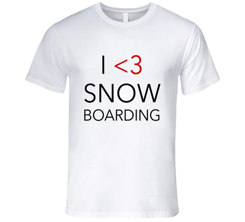 I Heart Love Snowboarding Fun Winter Sports Graphic T Shirt