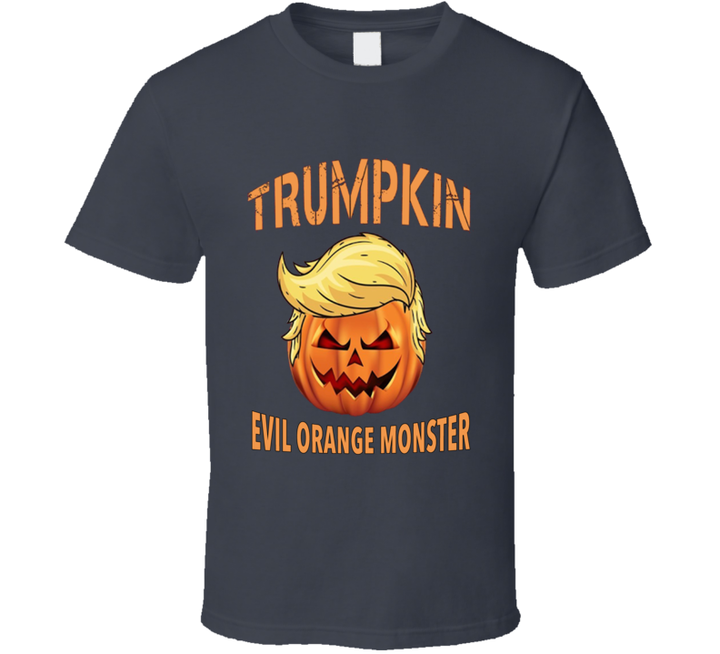 Trumpkin Evil Orange Monster Funny President Trump Pumpkin Graphic Halloween Parody Graphic T Shirt