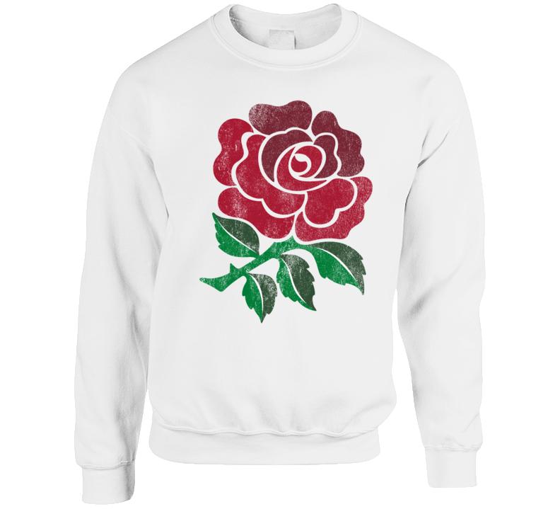 National English Rugby Rose Distressed Graphic Crewneck Sweatshirt