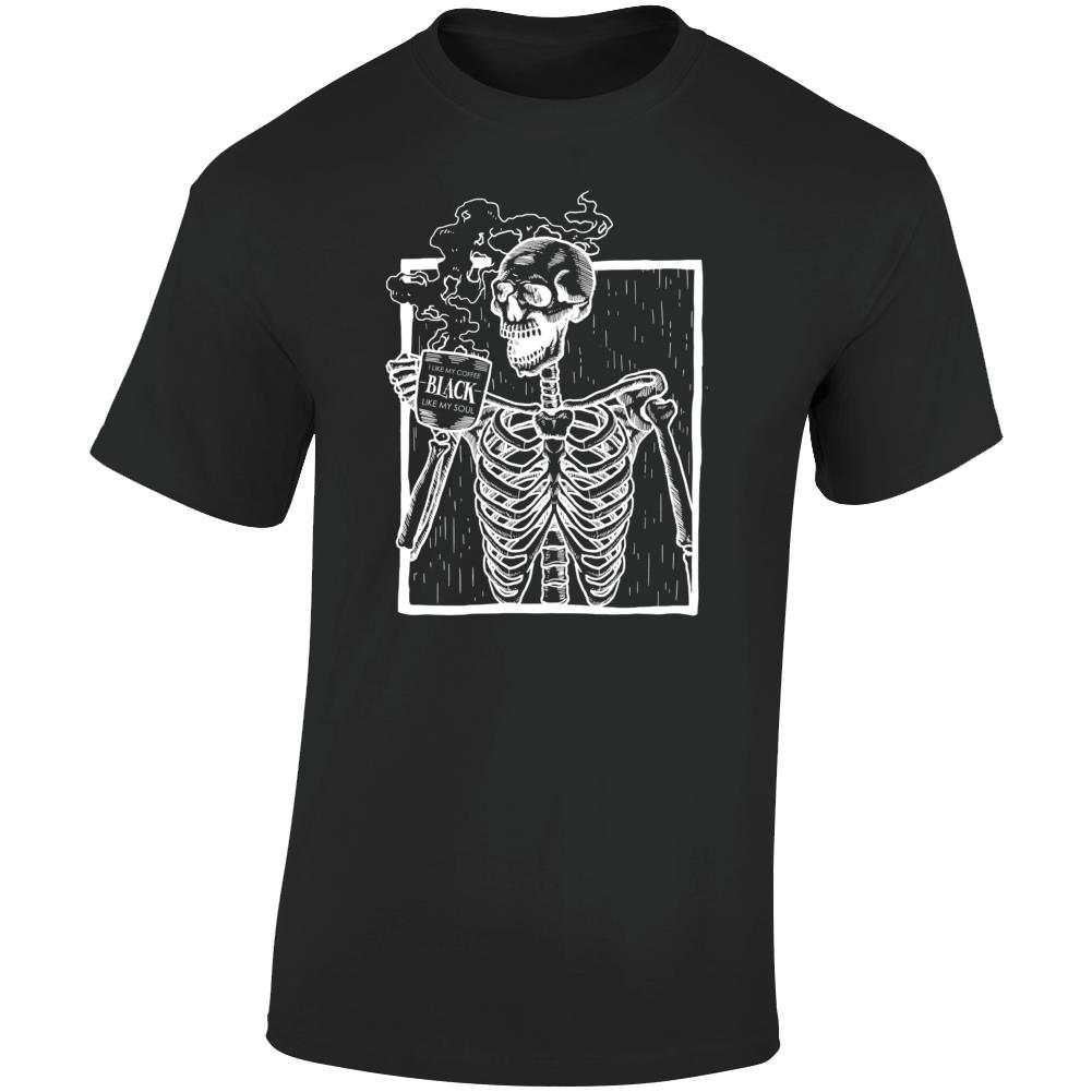 I Like My Coffee Black Like My Soul Skeleton Graphic T Shirt
