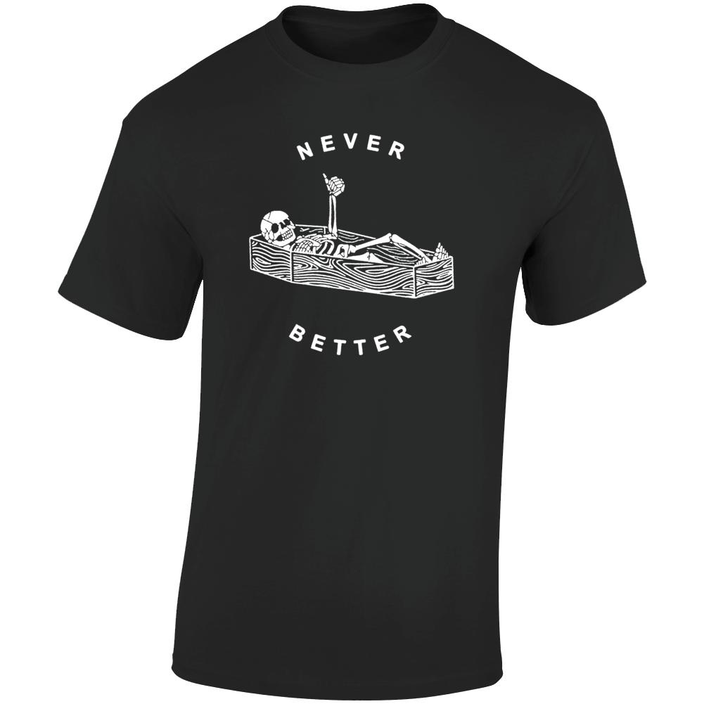 Never Better Thumbs Up Moto Style Vintage Skeleton  T Shirt