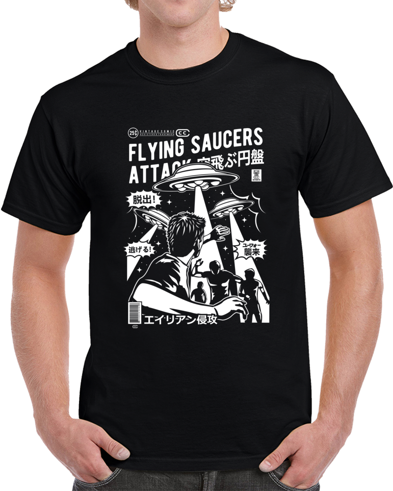 Flying Saucers Attack Japanese Retro Comic Book Style T Shirt