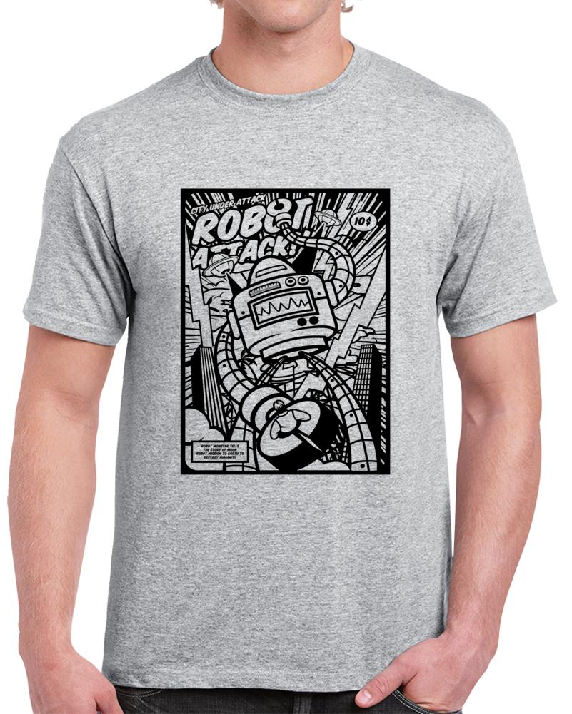 Robot Attack Retro Comic Book Style T Shirt