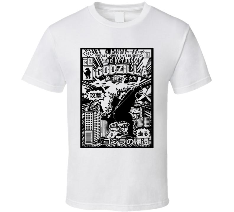 The Return of Godzilla Japanese Retro Comic Book Style T Shirt