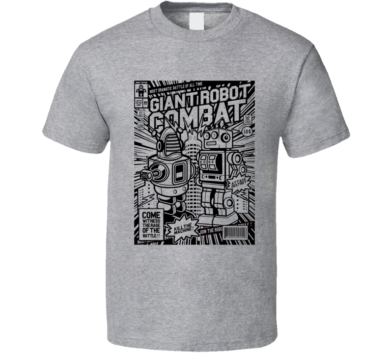 Giant Robot Combat Retro Comic Book Style T Shirt
