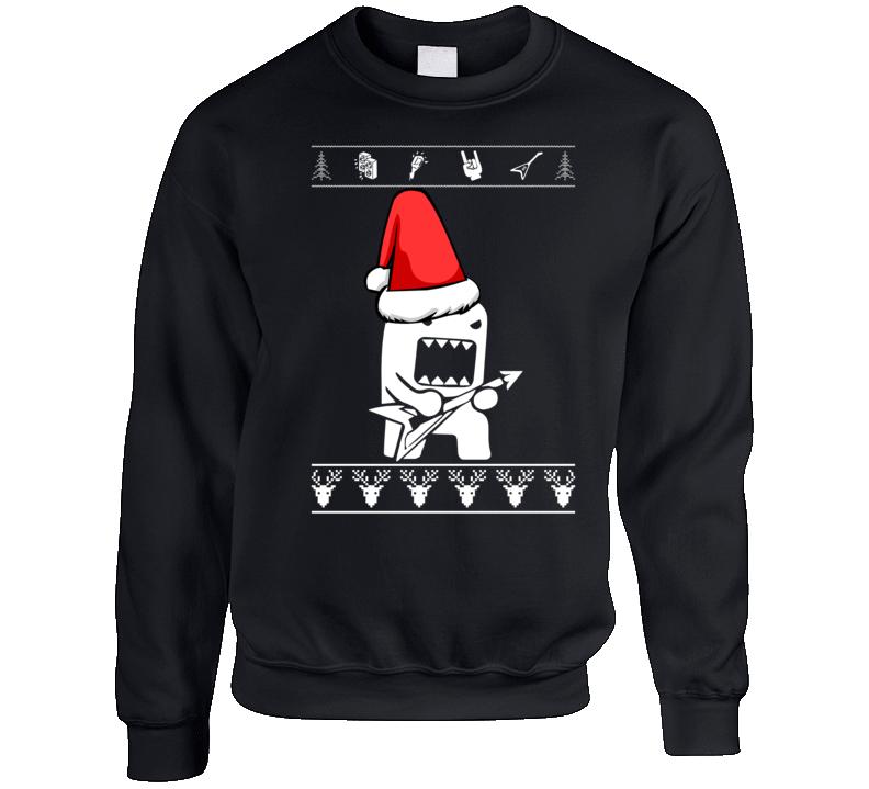 Domo Kun Christmas Rock Crewneck Sweatshirt