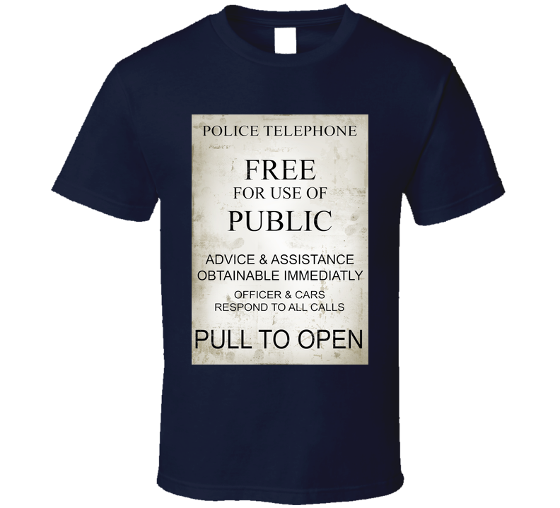 Doctor Who Police Box Sign  T Shirt