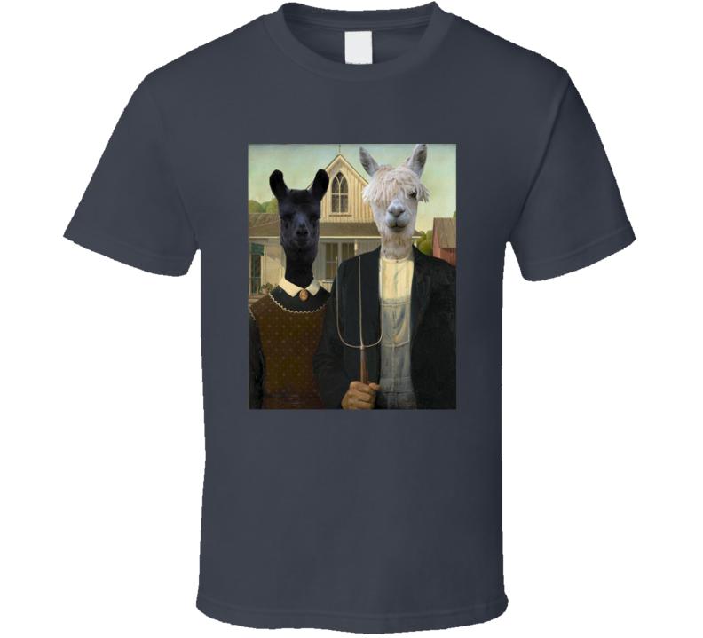 #LlamaWatch American Gothic Llama T Shirt