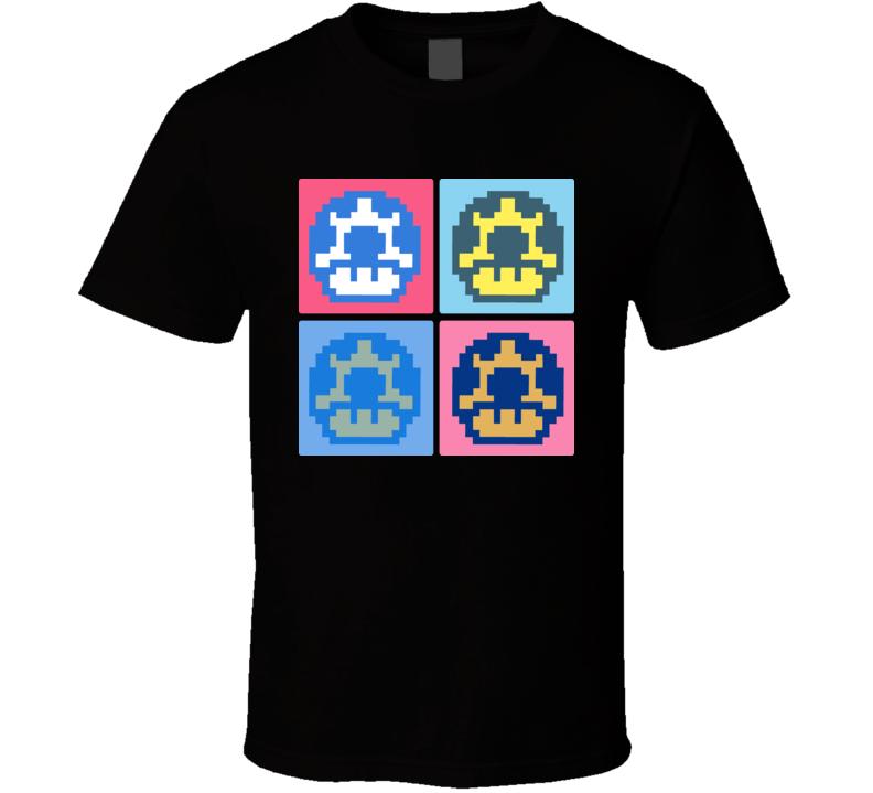 Super Mario Bros Mushroom Warhol T Shirt